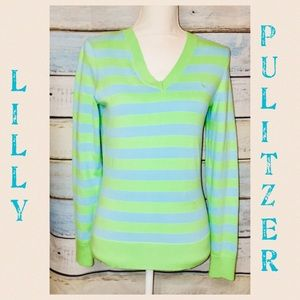 Lilly Pulitzer Green/Blue Stripe V-Neck Sweater S